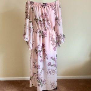Hint of Blush Floral Off the Shoulder Pink Dress
